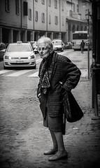 Searching with my good eye (damar47) Tags: pentax pentaxart pentaxian da40mmf28xs stranger oldlady oldwoman bologna italia italy monochrome monochromatic streetstyle streetphotography street streetlife citycenter citylife k30 blackwhite blackandwhite bnw womanalone