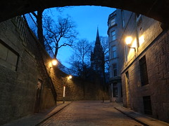 Blue Night (Ian Robin Jackson) Tags: aberdeen sony zeiss scotland scottish wall street lights bend arch steps