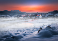 Home again... (Croosterpix) Tags: winter cold sunset snow landscape croatia bednja church mist sony a7r tamron 1530