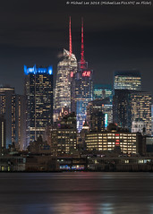 Times Square (20180214-DSC00106) (Michael.Lee.Pics.NYC) Tags: newyork newjersey weehawken portimperial ferryterminal hudsonriver night longexposure architecture cityscape timessquare 4timessquare bankofamericatower ink48hotel sony a7rm2 fe70300mmg