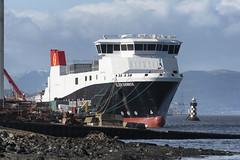 MV GLEN SANNOX (fordgt4040) Tags: vessel ship boat nautical passengerferry carferry calmac firthofclyde moored berthed alongside nikon nikond750 digitalcamera nikkorlens motorvessel scotland westofscotland marine sea inverclyde mvglensannox fergusonmarineengineeringlimited portglasgow dualfuelferry shipyard