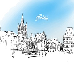 Sketch of Trier in Germany (Hebstreits) Tags: architecture art bright city decoration decorative drawing germany horizontal illustration landscape market object painting people province provincial rhine sketch sky square summer tourism tower town travel trier vacation vector vintage watercolor