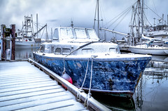 Cold Blue (Paul Rioux) Tags: marine marina waterfront pier fishermanswharf fishingvillage dock frenchcreek boat boats vessels snow frost cold winter season morning daybreak parksville bc prioux blue old tiedup moored calm water reflection