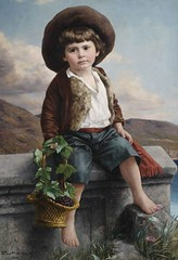 Peasant Boy with Basket of Grapes (1889) (Animus Mirabilis) Tags: german painting art ernstschmitz 19thcentury portrait peasant boy basket grapes fruit hat child wall