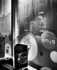 Steamy Windows (DWTait) Tags: cafe window condensation passerby monochrome fuji fujifilm x20 niksilvereffects menu table drinks