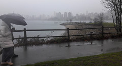 Log beach, people enjoying a walk, carrying black umbrellas, fence, path, rainy day gray, landscape, seascape, cityscape, boats, trees, winter, City of Vancouver, B.C., Canada (Wonderlane) Tags: 20180107141006 logbeach peopleenjoyingawalk fence landscape seascape boats trees winter cityofvancouver bc canada carryingblackumbrellas path rainydaygray cityscape wet rainy day gray grey foggy fog skyscrapers
