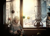 Betty is a retired witch (olgavareli) Tags: olga vareli witch knitting retirement old age elderly room sunny magic realism surreal balls dream