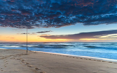 Sunrise Seascape and Fishing Rod (Merrillie) Tags: daybreak wamberalbeach sunrise cloudy australia surf centralcoast wamberal morning newsouthwales waves earlymorning nsw sea beach ocean nature landscape sky coastal waterscape outdoors seascape clouds coast water dawn
