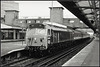 D400 Woking (Jason 87030) Tags: class50 diesel locomotive hoover br britishrail networksoutheast special retro livery pioneer 50050 blue woking station platform surry waterloo exeter 1991 history old train tracks route slide scan bw bbw black blanc noir white mono frame border uk england heritage