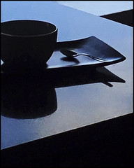 Blues and black (Bob R.L. Evans) Tags: lunch spoon bowl reflection shadow unusual ipadphotogrpht soup blue lowkey composition