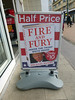 fire and fury 17/365 (auroradawn61) Tags: book advert sign trump bournemouth dorset uk england topical january 2018 lumixtz25 fireandfury halfprice 365daysin2018