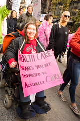 Health Care Means You are supposed to CARE (Patja) Tags: newyorkcity womensmarch2018 womens march protest disabled wheelchair