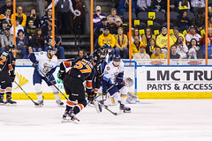 """Kansas City Mavericks vs. Toledo Walleye, January 20, 2018, Silverstein Eye Centers Arena, Independence, Missouri.  Photo: © John Howe / Howe Creative Photography, all rights reserved 2018. • <a style=""""font-size:0.8em;"""" href=""""http://www.flickr.com/photos/134016632@N02/39130007764/"""" target=""""_blank"""">View on Flickr</a>"""