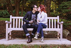 Mr & Mrs (Madelyn Collier) Tags: love couple engagement kiss red hair married bench park marriage baby converse happy natural light green foilage