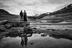 Helga & Vignir (LalliSig) Tags: wedding brúðkaup photographer iceland hvalfjörður black white gray water waterfall reflection portrait portraiture people