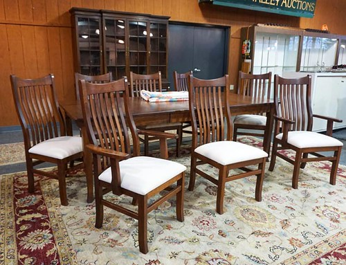 Amish-Made Cherry Farm Table w/ 8 Chairs ($1,344.00)