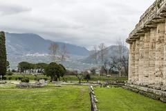 Mountain town overlooking the ruins (tatlmt) Tags: europe italy ruins greek roman temple ancient templeofhera posidonia paestum doric architecture
