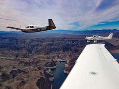 Arizona Breakfast Run - Arizona/Nevada Border  USA (Baron von Speed) Tags: iphone lakemead hooverdam formationflying cirrus sr22 mooney m20j bypass bridge n5254t n64mr n456dc airtoair aviation airplanes