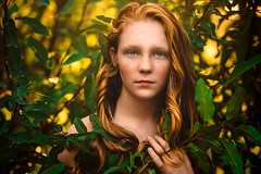 Fairy Child ({jessica drossin}) Tags: jessicadrossin portrait child freckles leaves light redhair redhead wwwjessicadrossincom