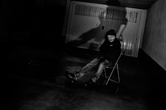 #08 - Self portrait (bumbazzo) Tags: 52 08 onceaweek selfportrait selfportraits self portraits portrait autoritratto autoritratti bn bianco nero bianconero black white blackwhite bw cesate milano milan italia italy flash ombra ombre shadow shadows machera mask maschere pig maiale