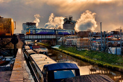 A Cold Day In Hell (whosoever2) Tags: uk united kingdom gb great britain nikon d7100 train railway railroad february 2018 wincham wharf lostock gralam northwich cheshire imerys chemical works pacer class142 arriva trent mersey canal narrowboat winter chester manchester