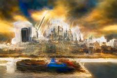 London Skyline (RCARCARCA) Tags: cranes thames photoartistry abstract canon orange red 2470l walkietalkie blue riverthames cyan sky river tower gherkin yellow 5diii boat acqua skyline green construciton