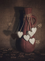 Dragobete - a day for lovers (Luana 0201) Tags: wood heart white flower fabric clay pot dragobete lovers romania tradition