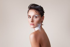 Half (igor.shmel) Tags: care makeup hairstyle girl clean white style face long beauty healthy attractive portrait feminine lady adult skin sexy fashion photo curly model models background caucasian young beautiful sensuality hair glamour studio woman female emotional original