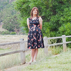 Rest Stop (justplainrachel) Tags: justplainrachel rachel cd tv crossdresser transvestite dress frock birds print black retro style vintage petticoat selfie selfportrait nsw australia trans transgender