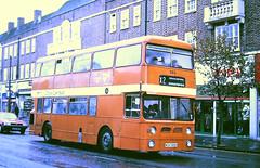 Slide 113-82 (Steve Guess) Tags: cardiff sharon coaches school bus weybrisge highstreet surrey england gb uk wuh585k 585 daimler fleetline mcw