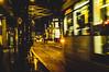 The Tram Again (aris.sfakianos) Tags: manchester tram transportation england uk lights night street urban yellow arndale rainy sidewalk