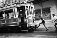 one small step (eb78) Tags: istanbul turkey travelphotography blackandwhite monochrome greyscale grayscale streetphotography istiklalavenue beyoglu trolley streetcar