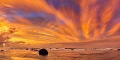 Oakura beach (www.cornelia-schulz-photography.com) Tags: oakurabeach beach seascape landscape colours striking sky orange colourful water newzealand taranaki