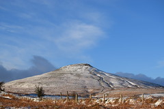 Sugar Loaf in the snow. (Working hard for high quality.) Tags: snow wales abergavenny sugar loaf grass