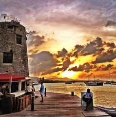 [Surreal Sunset in St. Croix] (vikapdesigns) Tags: surreal sunset colors sky clouds ocean island boardwalk sun mill