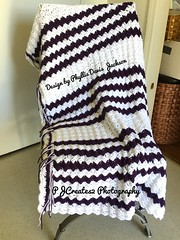 Deep Purple And White Blanket (Jack4Phil) Tags: stripes white color purple handmade original design blanket crochet
