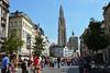 Strolling through Antwerpen (angelsgermain) Tags: street perspective pedestrian trees buildings town cathedral tower gothic bikes people tourists summer city antwerpen anvers belgique belgie belgium