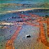 Orange Tracks on a Blue (Red) Planet, variant (sjrankin) Tags: 6march2018 edited nasa mars endeavourcrater opportunity rocks sand dust tracks wheeltracks treadmarks colorized rgb bands257