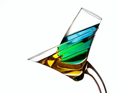 Yellow & Blue Make Green (Karen_Chappell) Tags: green yellow blue liquid refraction glass white stilllife physics light glasses shape product