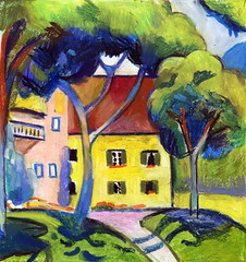 After August Macke, Staudacherhaus am Tegernsee, wax pastel on paper, 2017 (suzy_yes) Tags: ©mariazaikina macke copy after landscape pastel haus house