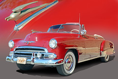 Red Hot 1951 Chevy Deluxe Convertible (Brad Harding Photography) Tags: 1951 51 chevy chevrolet styleline fleetline deluxe convertible whitewalls chrome antique restoration restored red fashionfrontgrille powerglide reflectorguardtaillights
