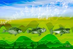 Three Fish (Richard Adams Photography) Tags: graphic design photographyasart d7100 fish abstract illustration