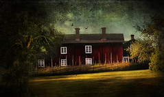 I once lived in a village. (BirgittaSjostedt) Tags: architecture house rural traditional sunrise field grass fence landscape outdoor texture paint creation sweden birgittasjostedt building tree coth5