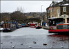 Icy day in the Basin. (Country Girl 76) Tags: canal basin leeds liverpool skipton narrow boats water ice bridge buildings birds scene winter