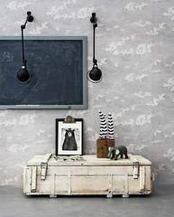 Gray Clouds Wallpaper (Heath & the B.L.T. boys) Tags: kidsroom chalkboard industrial rustic wallsconce gray wallpaper bear elephant
