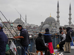 Istanbul (--PaX--) Tags: olympus turkey turquie istanbul fishing pêche fisherman bridge pont mosquée mosque