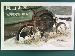 Junk Yard Bike (Henwaddle) Tags: bike bicycle junk rust painting art watercolor