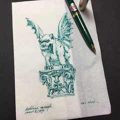 Gargoyle #2 (schunky_monkey) Tags: penandink ink pen fountainpen sketching drawing draw illustration art napkinsketch napkin sketch architecture statue building gargoyle