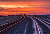 Vanishing into the sunset! (Browtine1) Tags: train tracks orange vanishing lines rural country