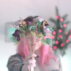 (shinebrightx) Tags: girl colorfulhair pinkhair pastelhair pastelpink bokeh cute flowers